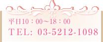 平日10:00〜18:00 TEL: 03-5212-1098